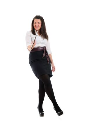 docs: Young businesswoman return docs. Isolated over white.