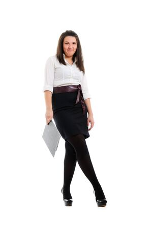 docs: Young businesswoman with docs. Isolated over white. Stock Photo
