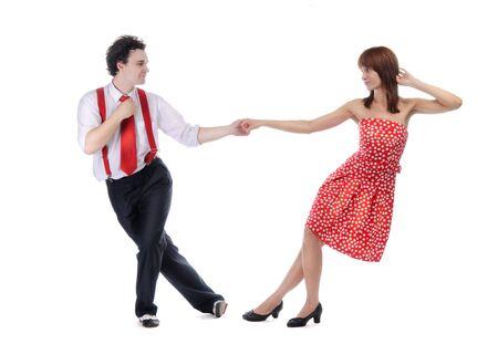 bailarin hombre: Pareja de bailarines aislados sobre blanco.