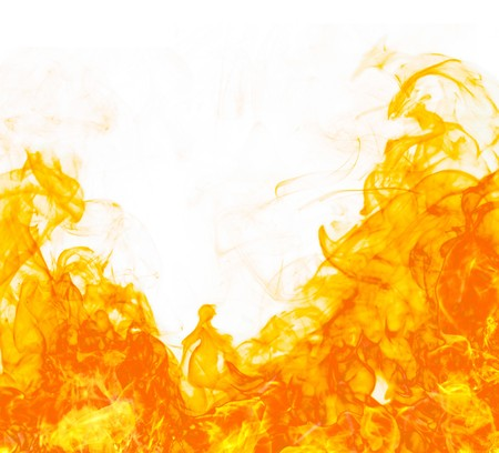 hell fire: Fire flameon white background Stock Photo