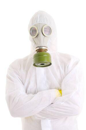 gasmask: Uomo con gasmask. Isolato su bianco.