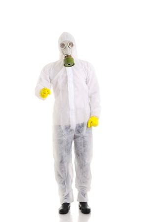 gasmask: Uomo con gasmask. Isolato over white.  Archivio Fotografico