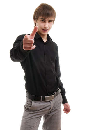 Young man pointing at camera. Isolated over white. Stock Photo - 7747942