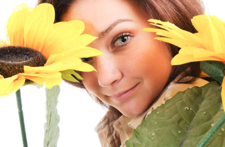 Woman and flower. Isolated over white. photo