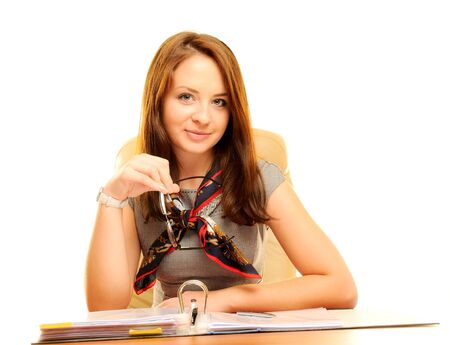 Beautiful businesswoman isolated over white photo