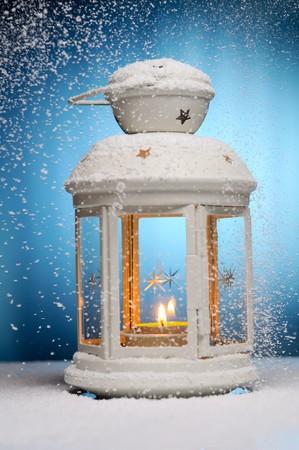 Christmas lamp. Shallow dof.  Focused on fire. Stock Photo - 7864428
