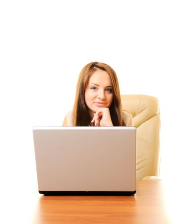 Young beautiful businesswoman with laptop isolated over white Stock Photo - 7944521
