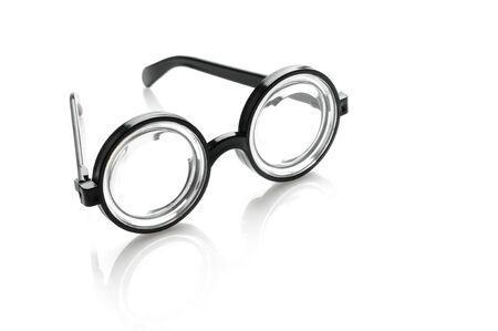 bifocals: Black glasses over white background