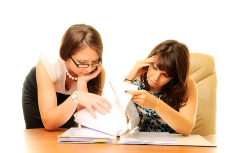 docs: Businesswoman working with docs Stock Photo