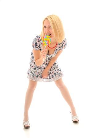 Sexy blonde licking lollipop photo