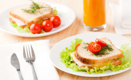 Tasty sandwiches with peach juice Stock Photo - 8115382