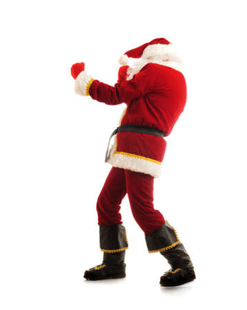 Fighting Santa isolated over white photo