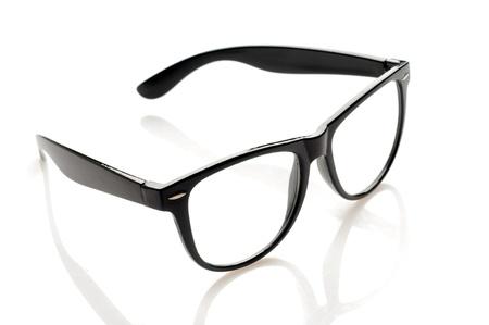 eyeglass frame: Black glasses over white background