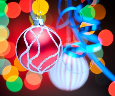 Christmas balls. Focusrd on red ball, shallow dof photo