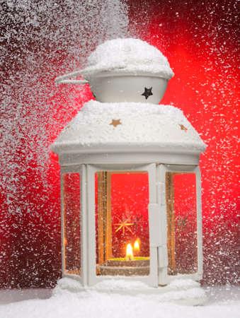 Christmas lamp. Shallow dof.  Focused on fire. photo