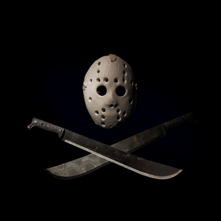 Dark picture of hockey mask and machetes Stock Photo - 8309508