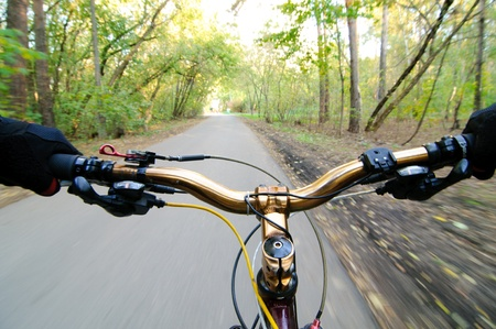 road bike: View from bikers eyes. motion blurred. Stock Photo