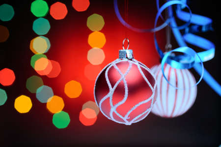 Christmas balls. Focusrd on red ball, shallow dof photo