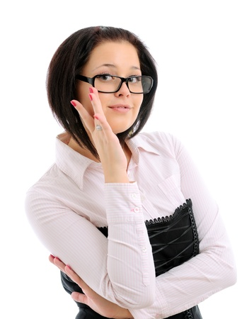 Young woman wearing her glasses photo