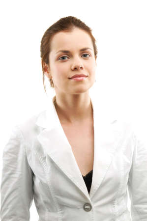 Portrait of woman over white photo