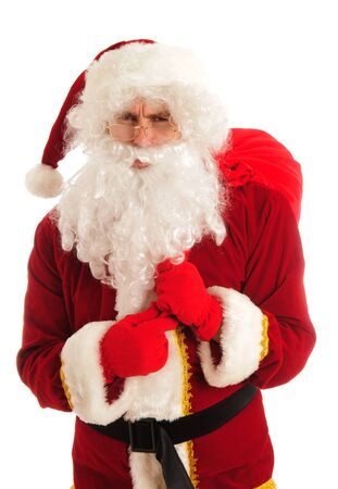 Angry Santa isolated over white photo