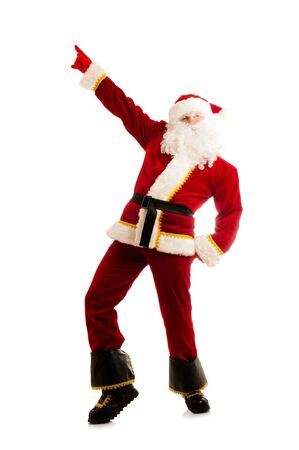 Dancing Santa Claus isolated over white photo