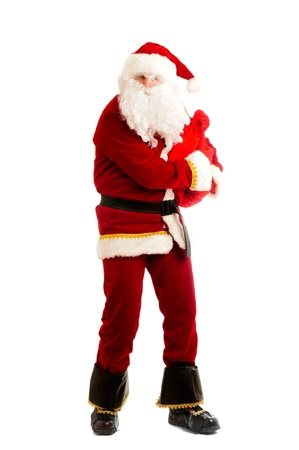 stingy: Greedy Santa isolated over white