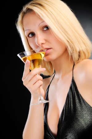 Sexy blonde dinking photo