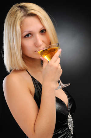 Sexy blonde dinking Stock Photo - 8617321