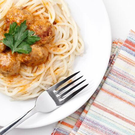Spagetti and meat balls photo