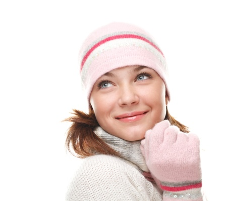ropa de invierno: Hermosa mujer vistiendo ropa de invierno Foto de archivo