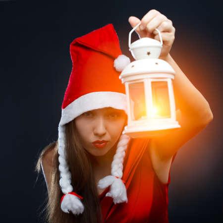 Woman with lantern. photo