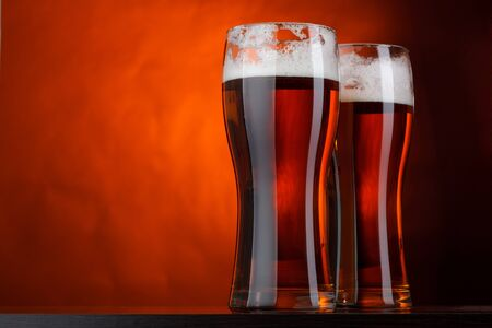 brewery: Two glasses of beer Stock Photo