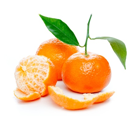 mandarins: Tangerines with leaves isolated over white