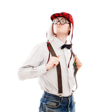 Nerd guy. Isolated over white. Stock Photo - 8995828