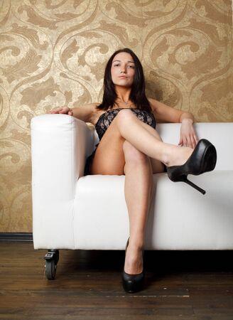 cross leg: Beautiful woman Stock Photo