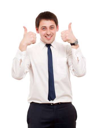 good looking boy: Man gesturing success sign. Isolated over white.