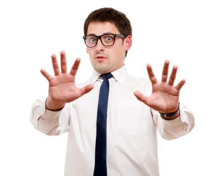 Scared man isolated over white. Focused on hand. Stock Photo - 8995749