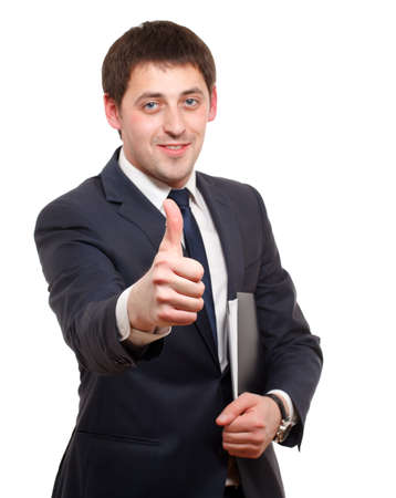 Man gesturing success sign. Isolated over white. photo