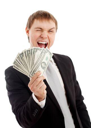 cash in hand: Hombre con dinero. Aislado en blanco.