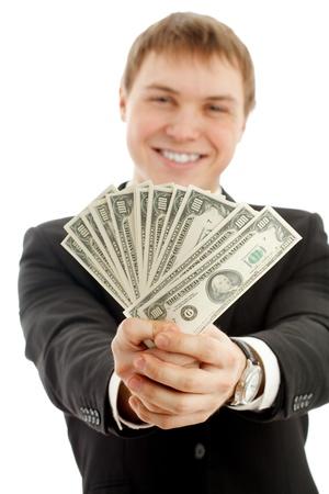 man holding money: Man with money