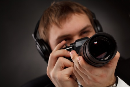 spies: Spy with camera. Stock Photo