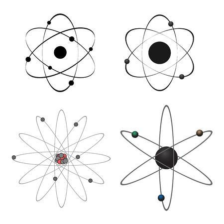 Cuatro iconos de átomo de vector