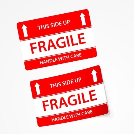 fragile: Vector fragile stickers Illustration