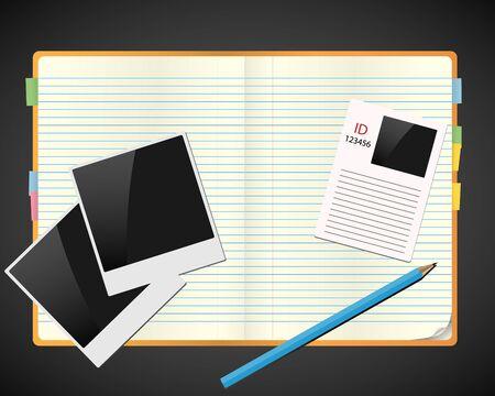 pesta�as: Cuaderno de bocetos con fotos, id y l�piz. Concepto de vector