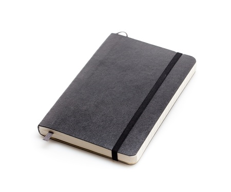 notebook background: Black moleskine isolated over white.