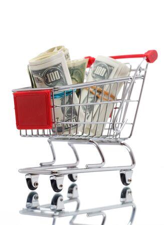cassa supermercato: Carrello di mercato con i soldi Archivio Fotografico