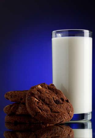 chocolate cereal: milk with cookies. Focused on cookies