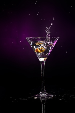 martini over dark background