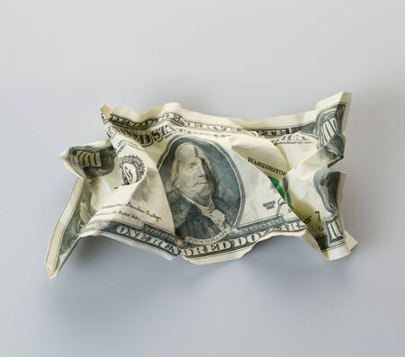scrunched: Crumpled money.